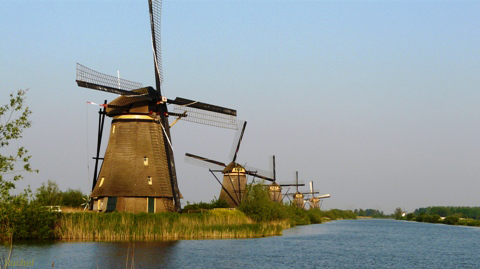 Les moulins de Kinderdijk, en Hollande
