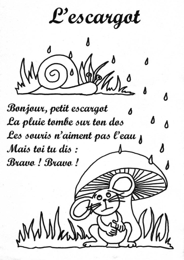 Comptines, poésies et poèmes, sur le thème de l'escargot