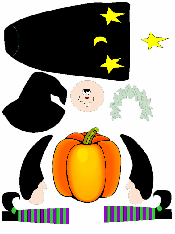 D coupage et collage pour halloween une sorci re en - Decoupage collage a imprimer ...