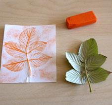 empreinte de feuille art visuel automne orange