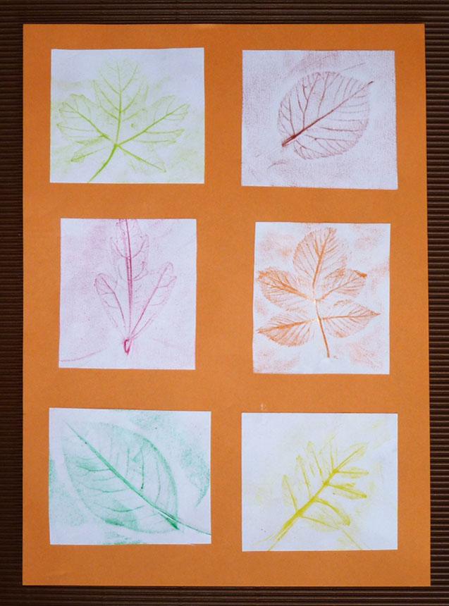 ... automne: décor en empreintes de feuilles pour enfants de cycle 2 ou 3