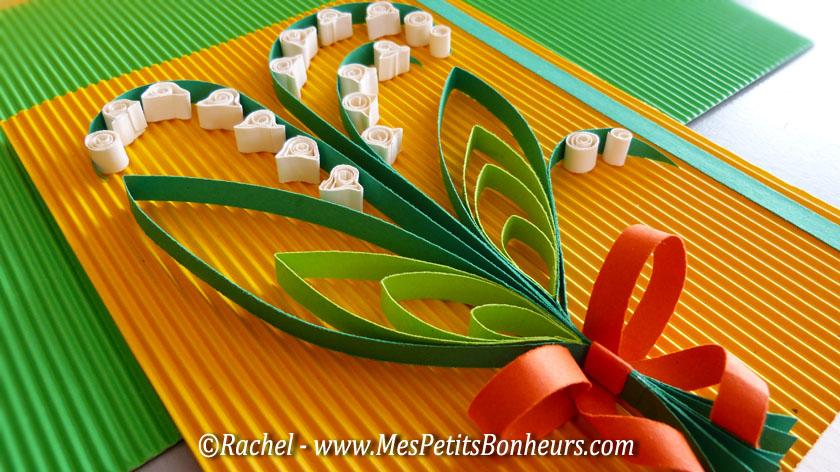 Bricolage de printemps: Muguet en quilling - Porte-bonheur en papier roulé
