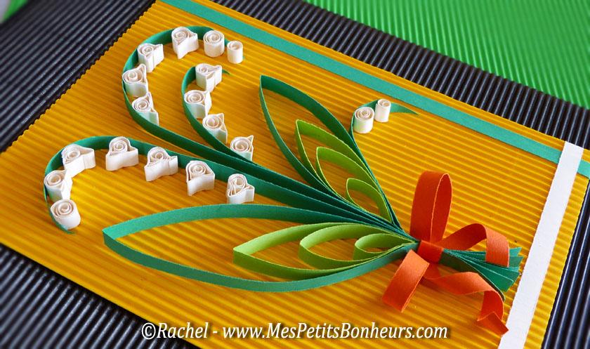 Bricolage de printemps muguet en quilling porte bonheur en papier roul - Activite avec papier crepon ...