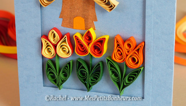 tulipes quilling pour carte fleurs