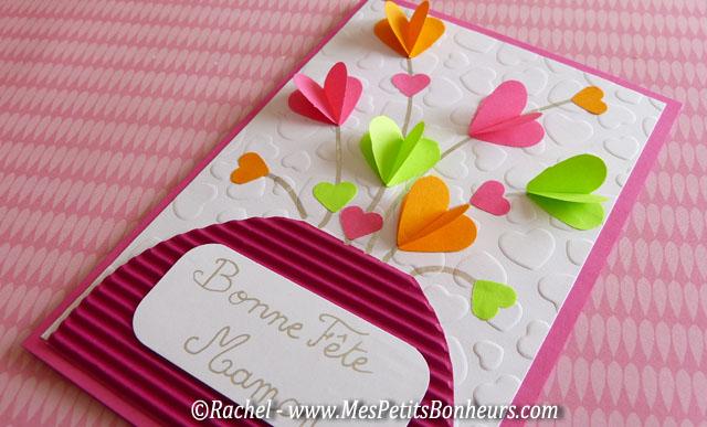 Bricolage: Carte bouquets de coeurs pour la fête des mères