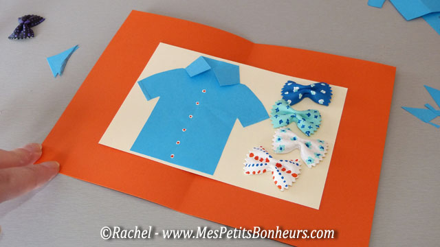 Carte f te des p res fabriquer chemise et noeuds papillon - Fete des peres bricolage ...