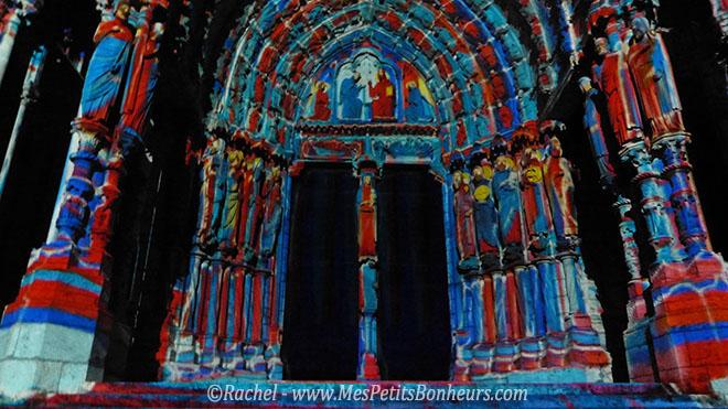 chartres illuminations façon peinture façade gauche cathedrale