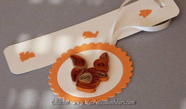 marque page automne ecureuil en quilling