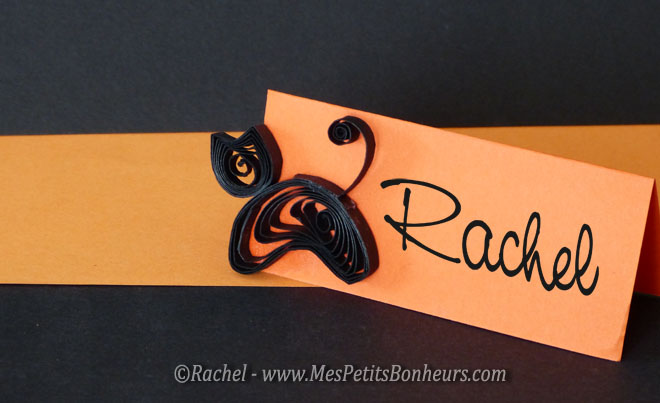 marque place halloween chat noir quilling