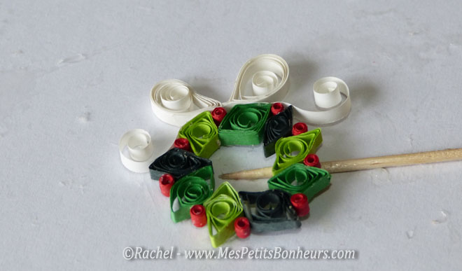 couronne noel quilling noeud blanc