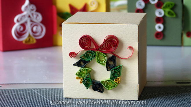 quilling noel couronne noeud rouge