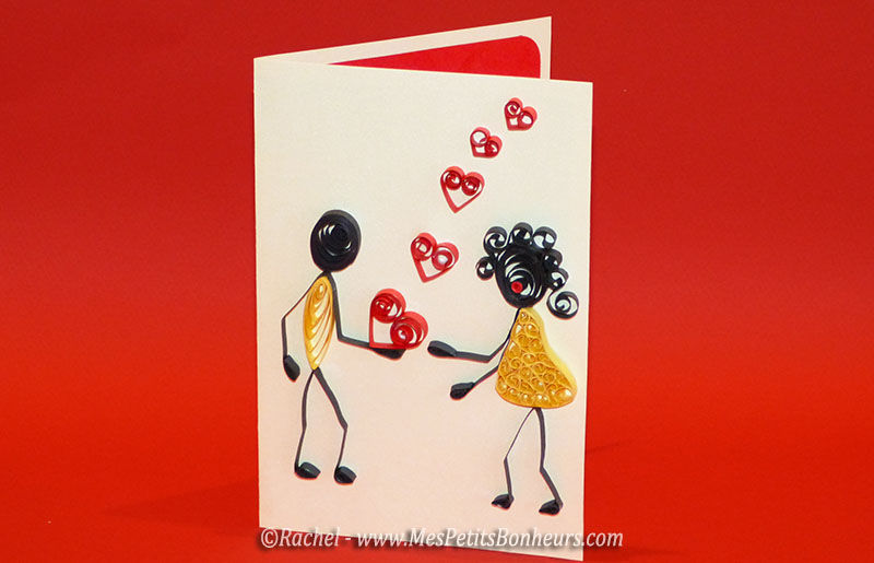 carte amour saint valentin quilling