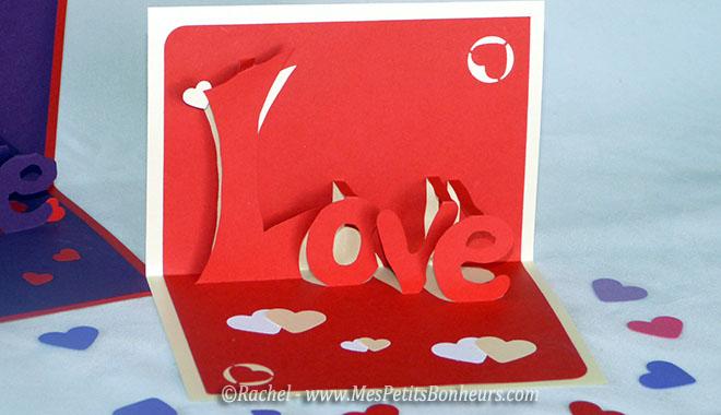 Carte love 3d kirigami imprimer pour la saint valentin - Carte pour la saint valentin a fabriquer ...
