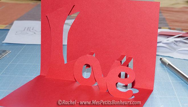 pop up pour carte love rouge
