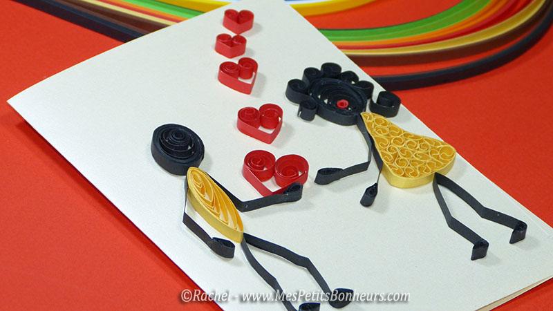 quilling love carte amoureux saint valentin