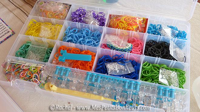 élastiques et jeu rainbow loom dans boite loom box