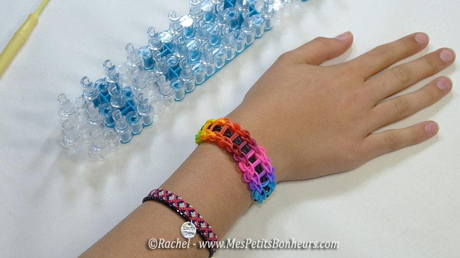Bracelet arc en ciel mod les fille et gar on en lastiques rainbow loom - Comment faire des bracelets en elastique ...