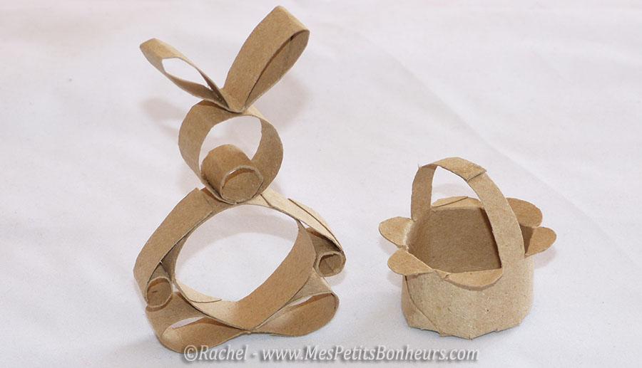 Panier pour mini oeufs et lapin de p ques en rouleau de papier toilette - Bricolage lapin de paques ...