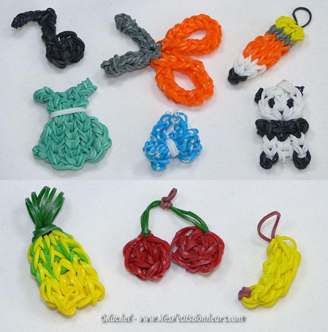 modeles en elastiques rainbow loom pour charms ou porte clés