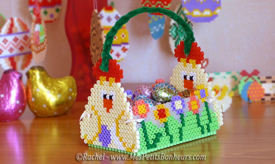 panier poules de paques en perles hama