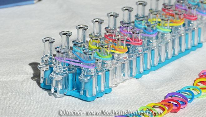 pour faire un bracelet arc-en-ciel rainbow loom en elastiques