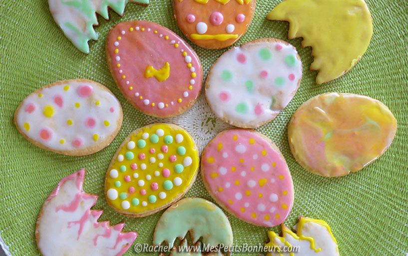 sablés de paques oeufs décors en couleurs