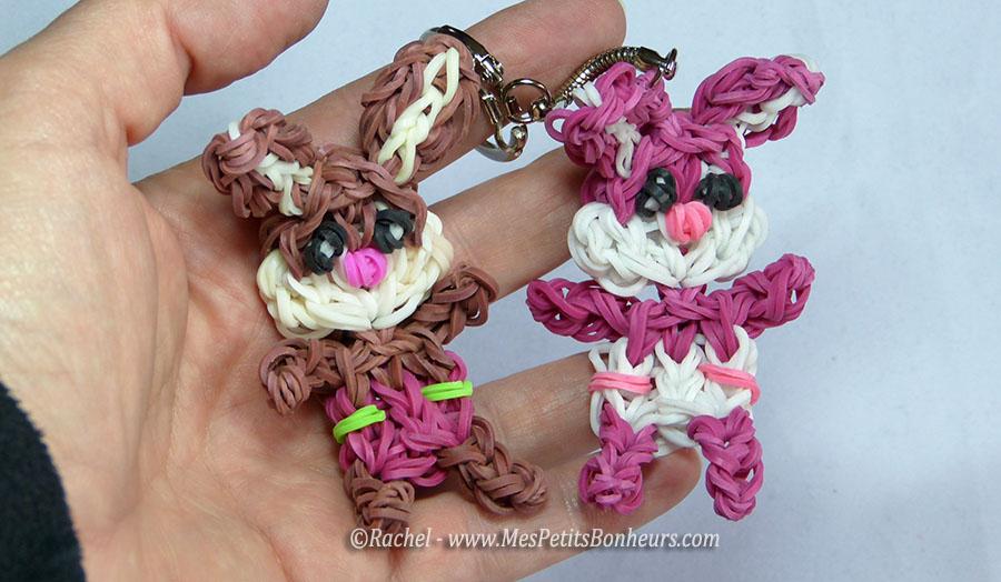 B b lapin en lastiques rainbow loom sur mon porte cl tuto - Comment faire des bracelets en elastique ...