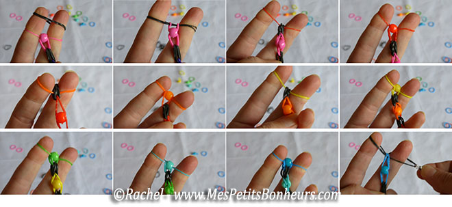 bracelet en élastiques et perles, sans support rainbow loom ni crochet