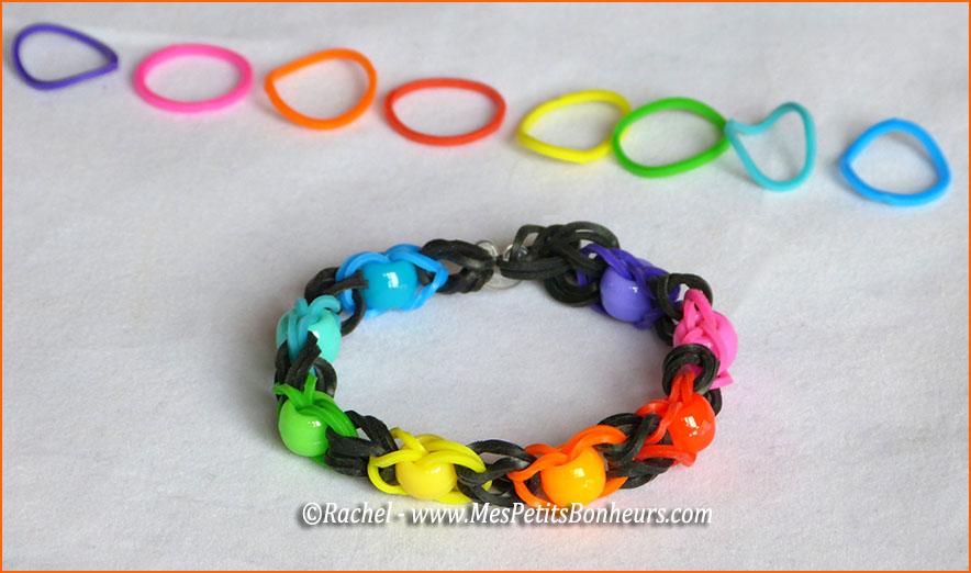 Bracelet en lastiques et perles sans support rainbow loom ni crochet - Comment faire les bracelet elastique ...