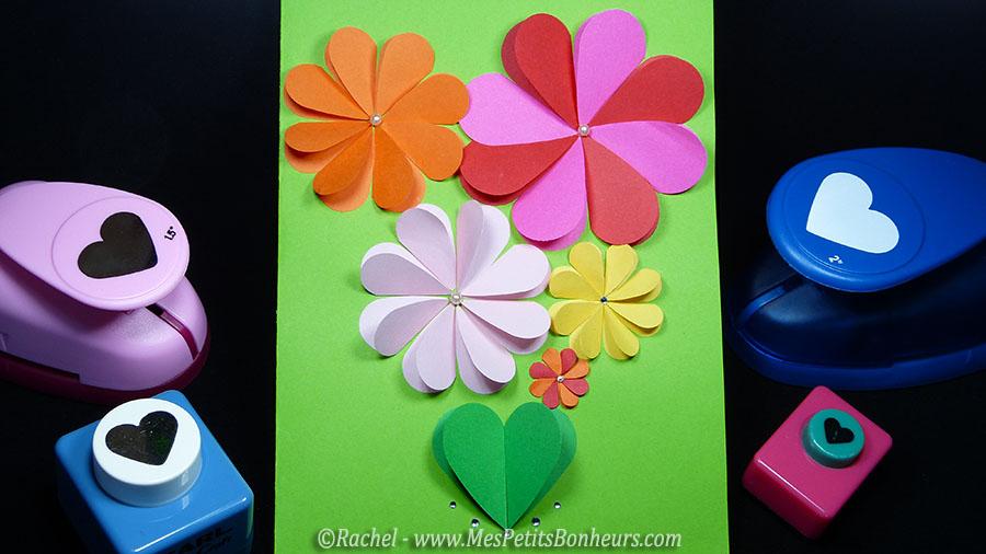 carte fleurs bricolage avec perfos coeurs