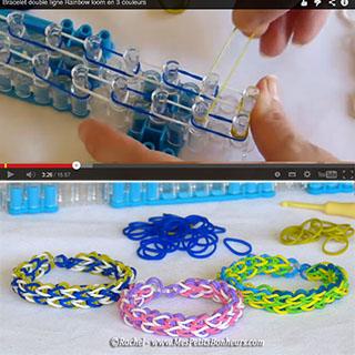 bracelet élastiques deux lignes tuto vidéo