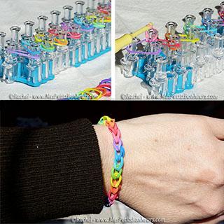 bracelet arc en ciel élastiques rainbow loom simple