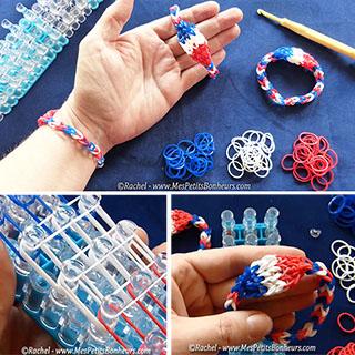 bracelet france elastiques bleu blanc rouge