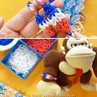 bracelets élastiques bleu blanc rouge enfants
