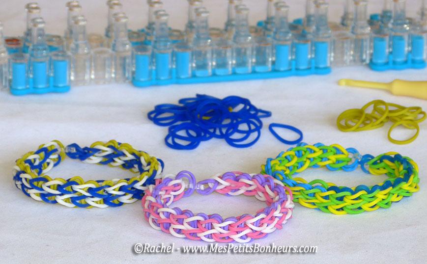 Bracelet lastiques deux rang es tuto vid o avec le - Comment faire un bracelet en elastique ...