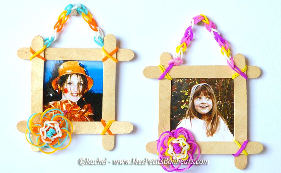 Bricolage en lastiques cadre avec fleur et batonnets fabriquer Magasin de bricolage pour enfant