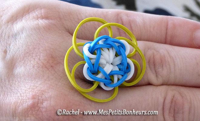 fleur en élastiques rainbow loom pour bracelet ou barrette – tuto