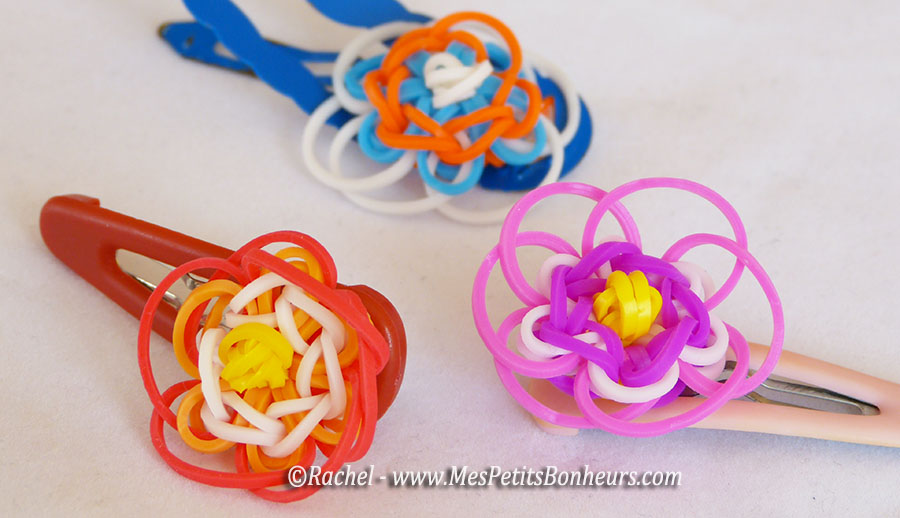 Fleur en lastiques rainbow loom pour bracelet ou barrette tuto - Faire des bracelets elastiques ...