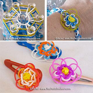 fleurs en élastiques pour bracelets et barrettes