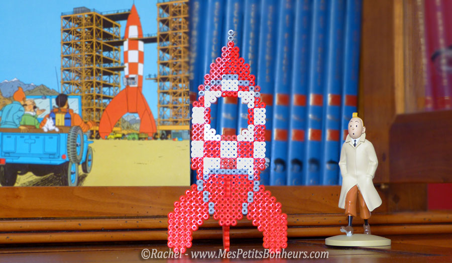 idée kdo fete des peres fusée tintin 3d a faire en perles hama