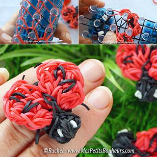 ladybug coccinelle rainbow loom elastiques