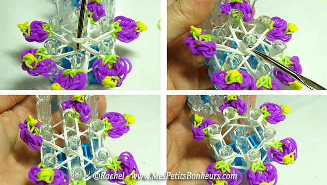 crocheter élastiques centre de la fleur
