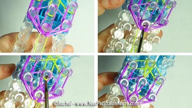 remonter les fils élastiques du milieu du pétale