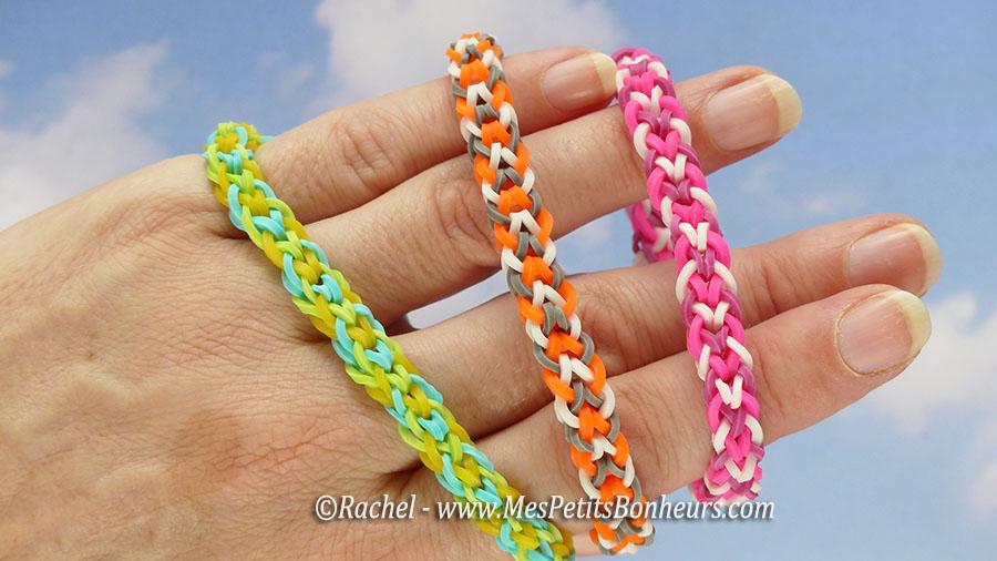Bracelets br siliens en lastiques tressage faire avec les doigts - Comment faire les bracelet elastique ...