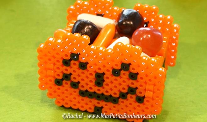 citrouille perles hama 3d panier bonbons halloween