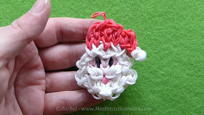 Tuto Père Noël en élastiques Rainbow Loom pour la déco du sapin.Image fixe032