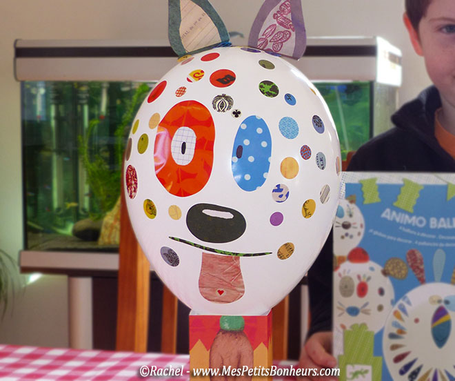 ballon chien rigolo bricolage enfant facile collage autocollants