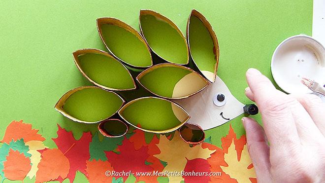 Bricolage automne mes petits bonheurs - Herisson en papier ...