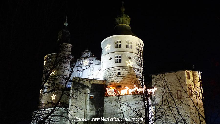 Chateau montbeliard traineau lumieres de noel