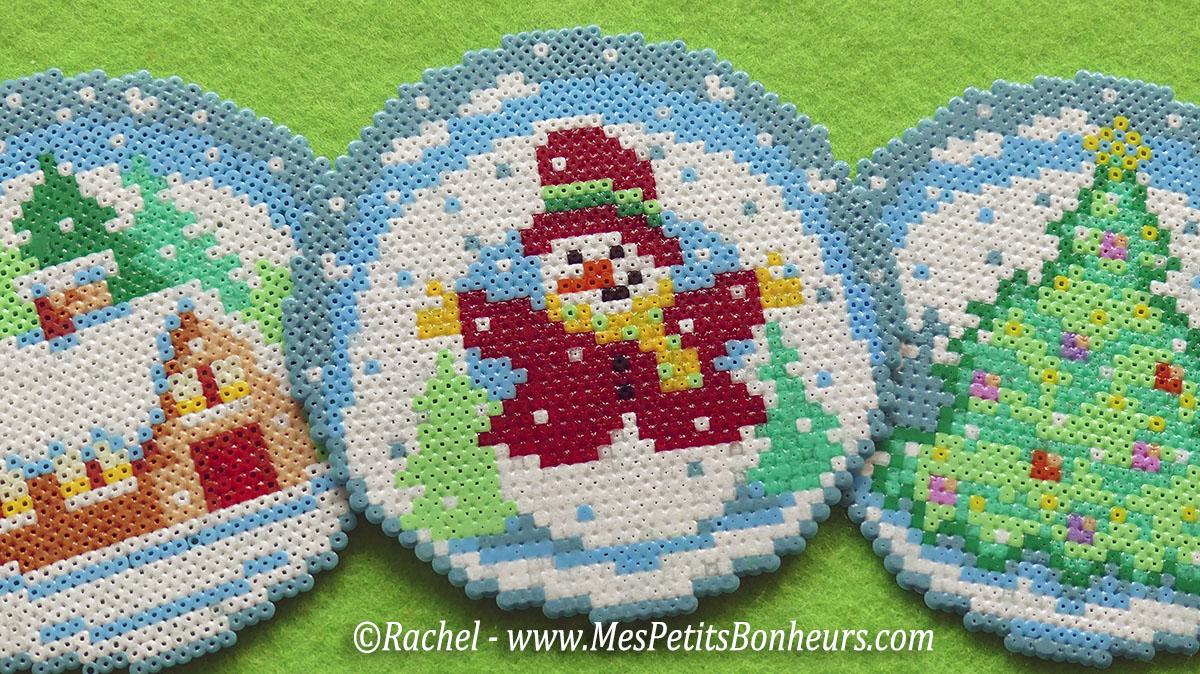Mod le de boule bonhomme de neige en perles hama minis - Boule a neige sans glycerine ...